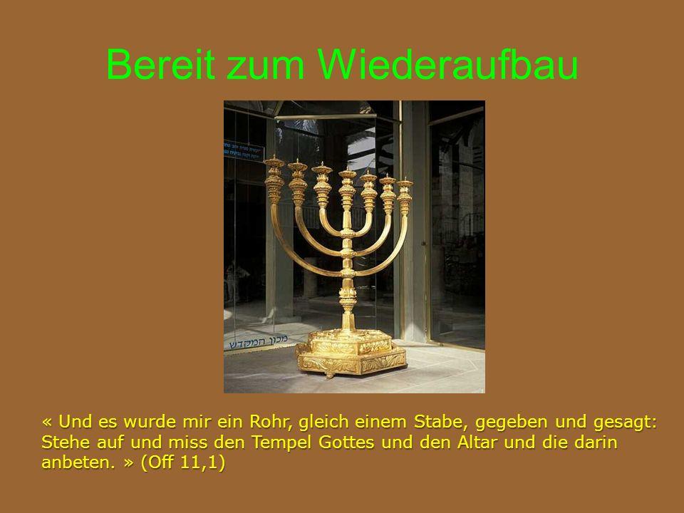 Bereit zum Wiederaufbau « Und es wurde mir ein Rohr, gleich einem Stabe, gegeben und gesagt: Stehe auf und miss den Tempel Gottes und den Altar und die darin anbeten.