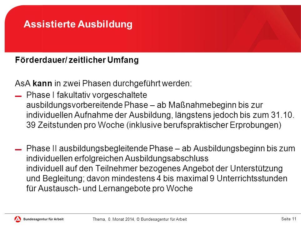 Seite 11 Thema, 0. Monat 2014, © Bundesagentur für Arbeit Förderdauer/ zeitlicher Umfang AsA kann in zwei Phasen durchgeführt werden: ▬ Phase I fakult