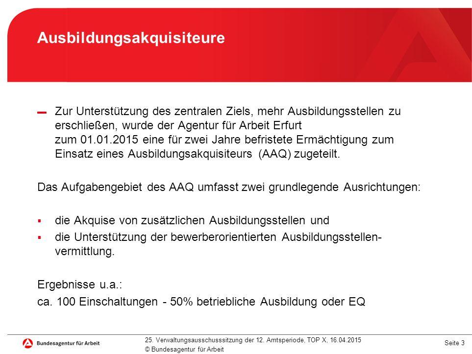 Seite 3 Ausbildungsakquisiteure ▬ Zur Unterstützung des zentralen Ziels, mehr Ausbildungsstellen zu erschließen, wurde der Agentur für Arbeit Erfurt zum 01.01.2015 eine für zwei Jahre befristete Ermächtigung zum Einsatz eines Ausbildungsakquisiteurs (AAQ) zugeteilt.