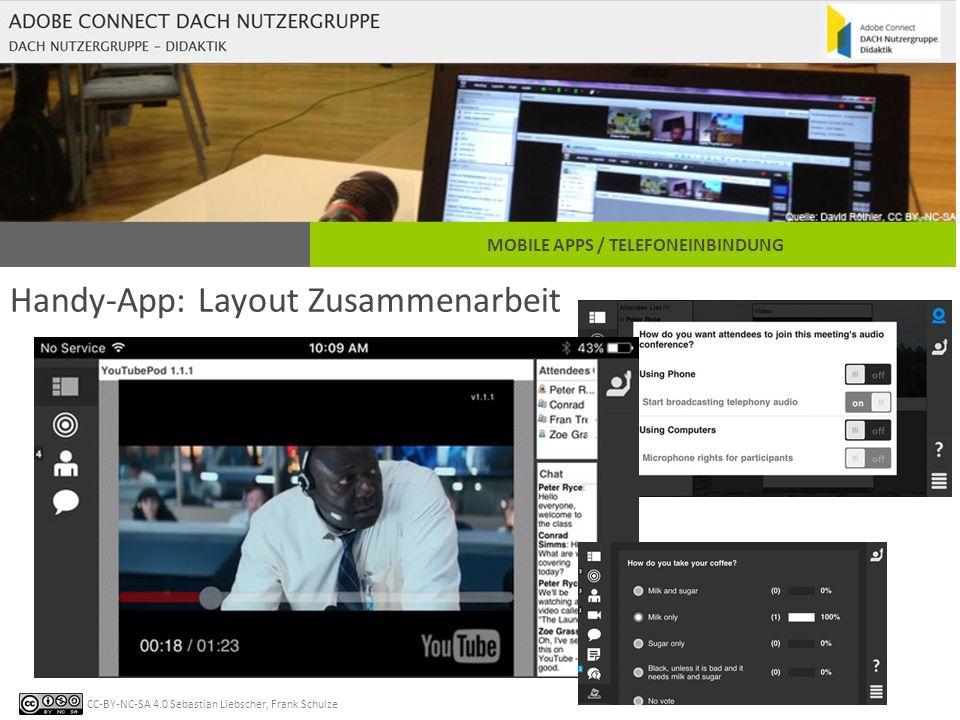 CC-BY-NC-SA 4.0 Sebastian Liebscher, Frank Schulze MOBILE APPS / TELEFONEINBINDUNG Handy-App: Layout Zusammenarbeit