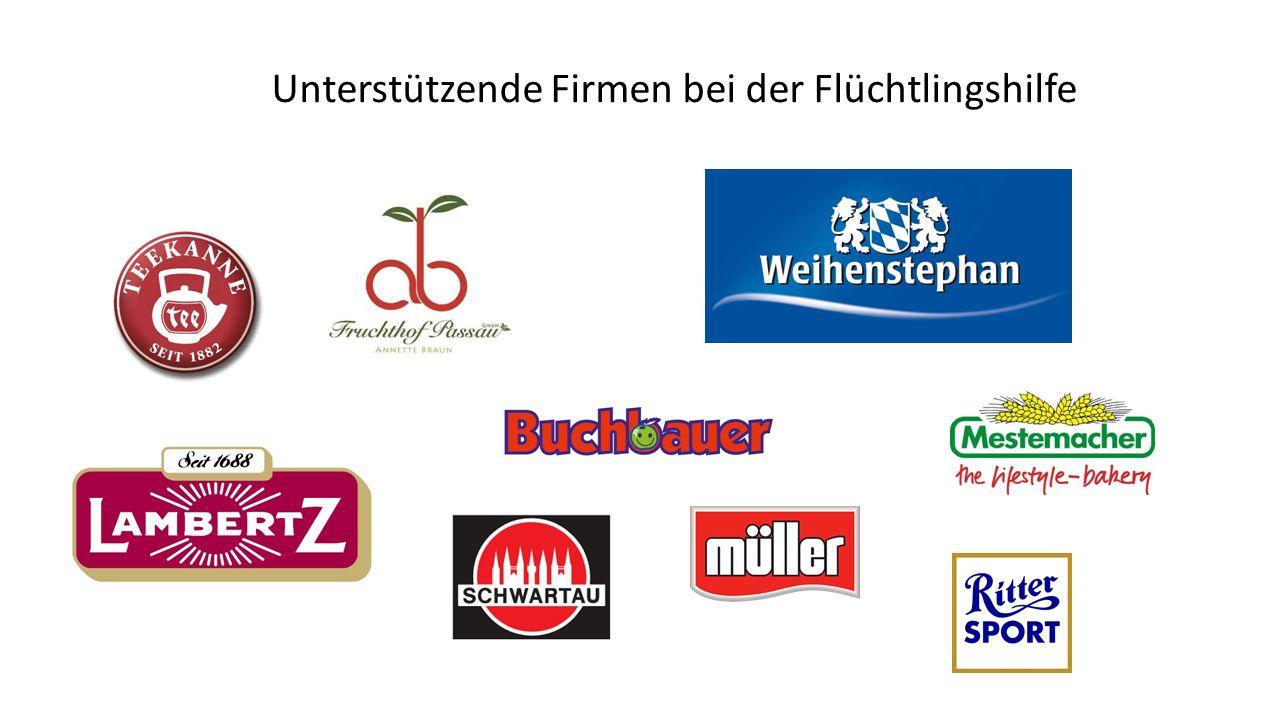 Unterstützende Firmen bei der Flüchtlingshilfe