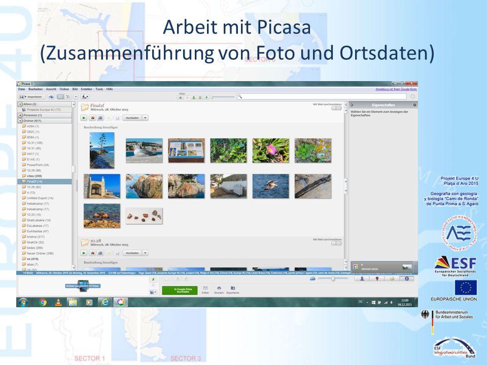 Arbeit mit Picasa (Zusammenführung von Foto und Ortsdaten)