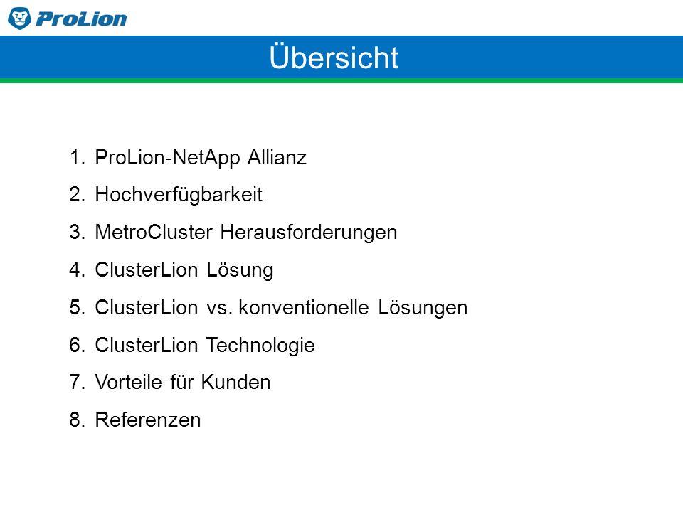 Übersicht 1.ProLion-NetApp Allianz 2.Hochverfügbarkeit 3.MetroCluster Herausforderungen 4.ClusterLion Lösung 5.ClusterLion vs. konventionelle Lösungen