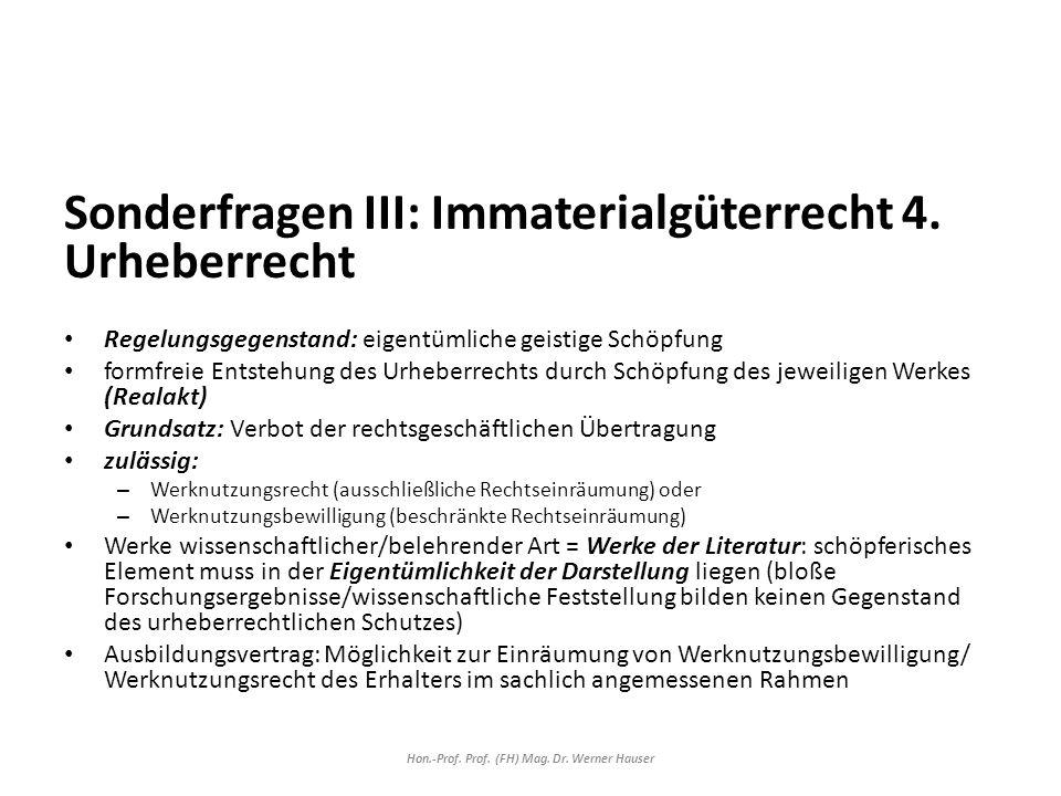 Sonderfragen III: Immaterialgüterrecht 4.