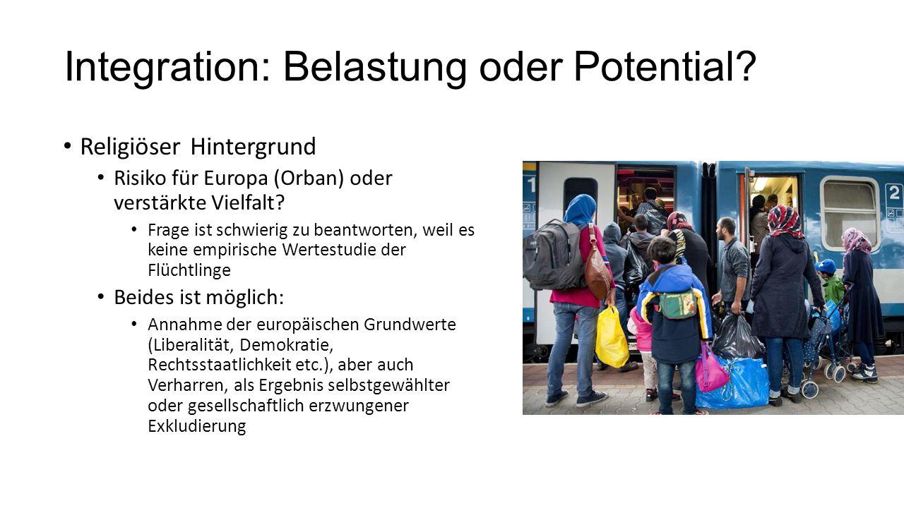 Integration: Belastung oder Potential? Religiöser Hintergrund Risiko für Europa (Orban) oder verstärkte Vielfalt? Frage ist schwierig zu beantworten,