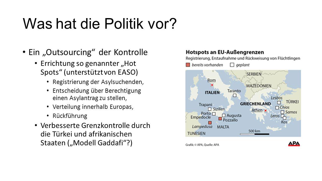 """Was hat die Politik vor? Ein """"Outsourcing"""" der Kontrolle Errichtung so genannter """"Hot Spots"""" (unterstützt von EASO) Registrierung der Asylsuchenden, E"""
