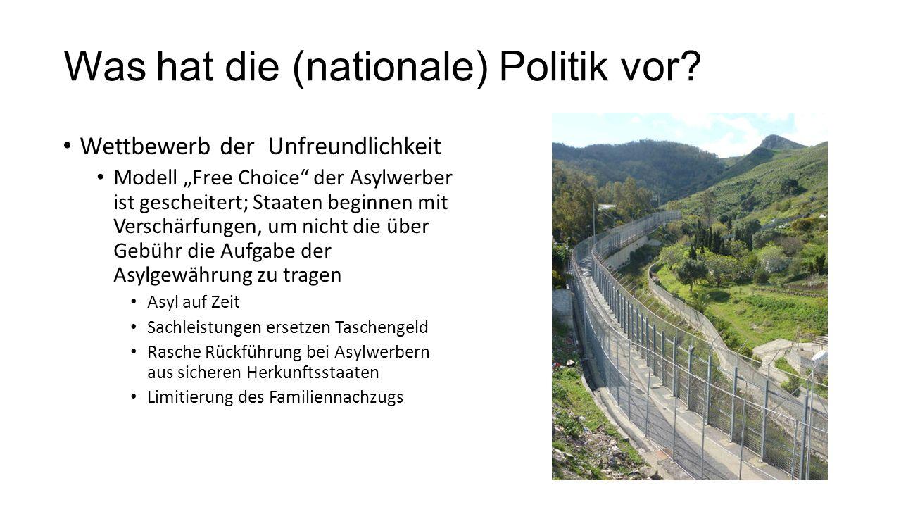 """Was hat die (nationale) Politik vor? Wettbewerb der Unfreundlichkeit Modell """"Free Choice"""" der Asylwerber ist gescheitert; Staaten beginnen mit Verschä"""