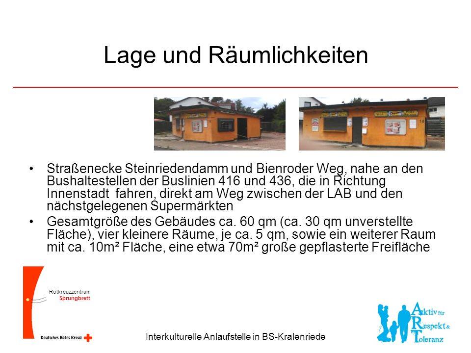 Rotkreuzzentrum Sprungbrett Interkulturelle Anlaufstelle in BS-Kralenriede Lage und Räumlichkeiten Straßenecke Steinriedendamm und Bienroder Weg, nahe an den Bushaltestellen der Buslinien 416 und 436, die in Richtung Innenstadt fahren, direkt am Weg zwischen der LAB und den nächstgelegenen Supermärkten Gesamtgröße des Gebäudes ca.