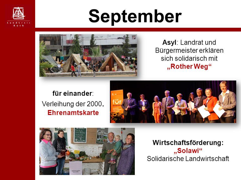 """September Asyl: Landrat und Bürgermeister erklären sich solidarisch mit """"Rother Weg für einander: Verleihung der 2000."""