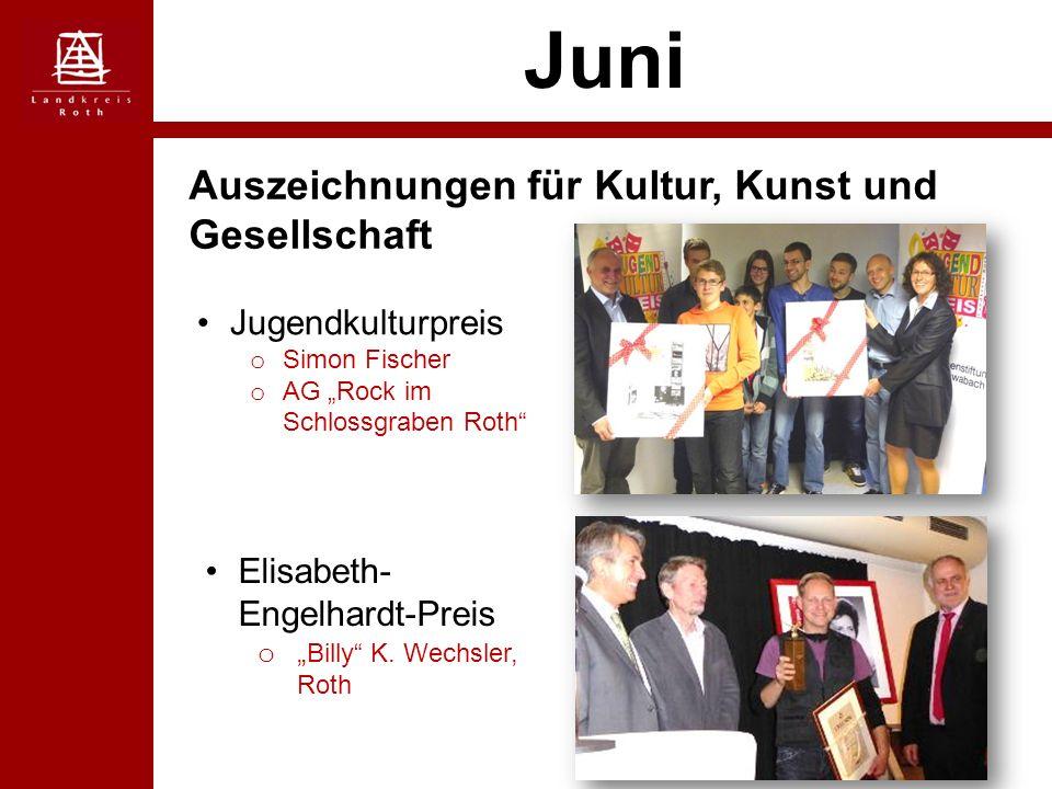 """Juni Auszeichnungen für Kultur, Kunst und Gesellschaft Jugendkulturpreis o Simon Fischer o AG """"Rock im Schlossgraben Roth Elisabeth- Engelhardt-Preis o """" Billy K."""