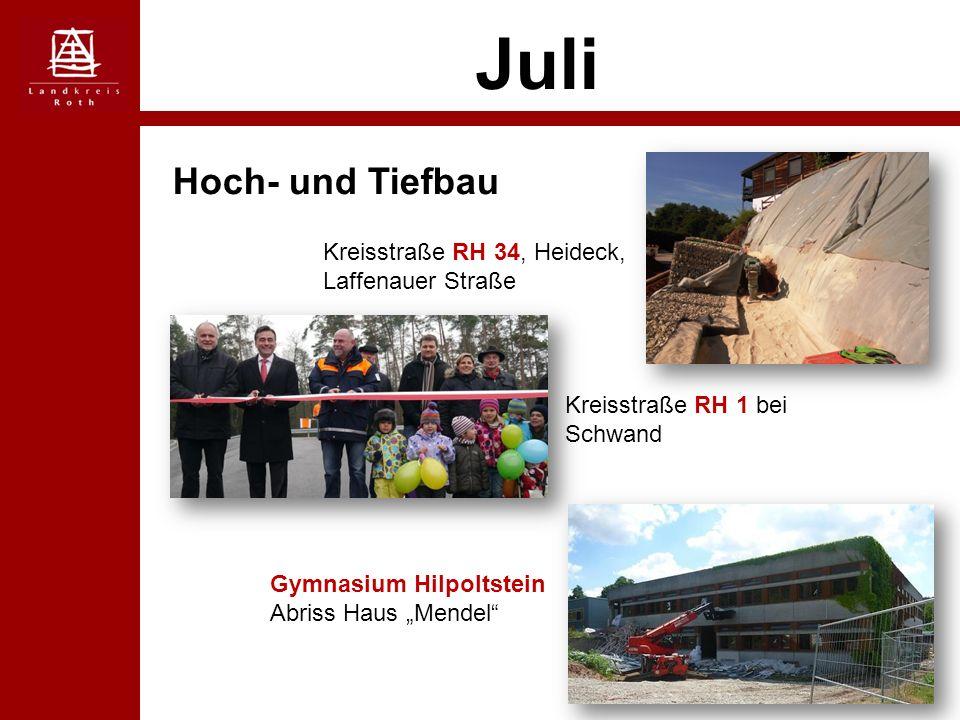 """Juli Hoch- und Tiefbau Kreisstraße RH 34, Heideck, Laffenauer Straße Kreisstraße RH 1 bei Schwand Gymnasium Hilpoltstein Abriss Haus """"Mendel"""