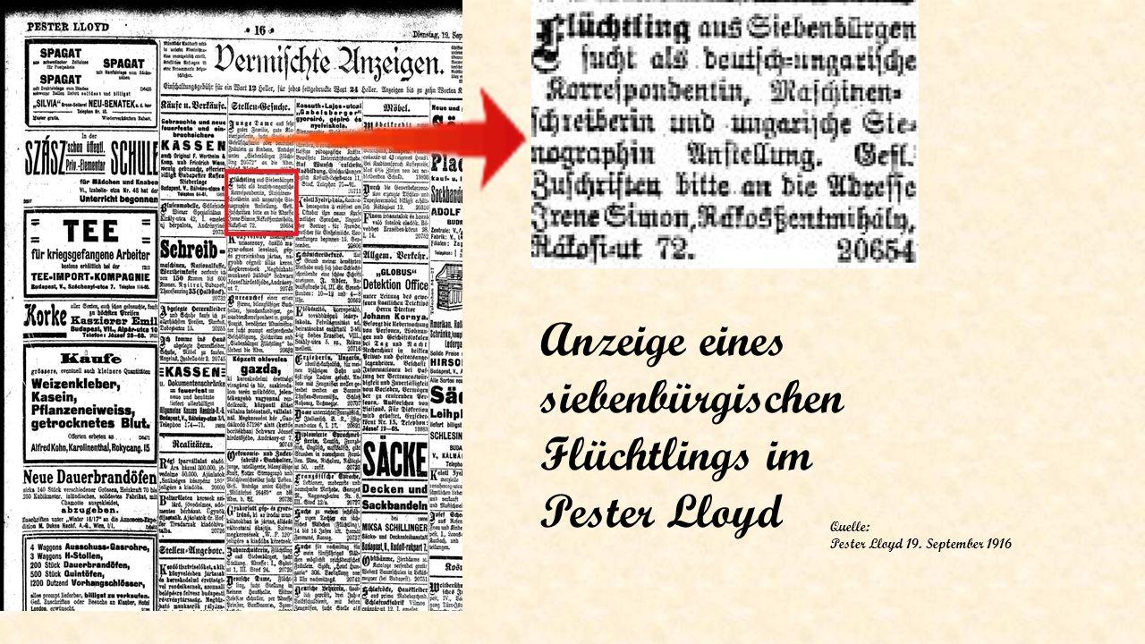Anzeige eines siebenbürgischen Flüchtlings im Pester Lloyd Quelle: Pester Lloyd 19. September 1916