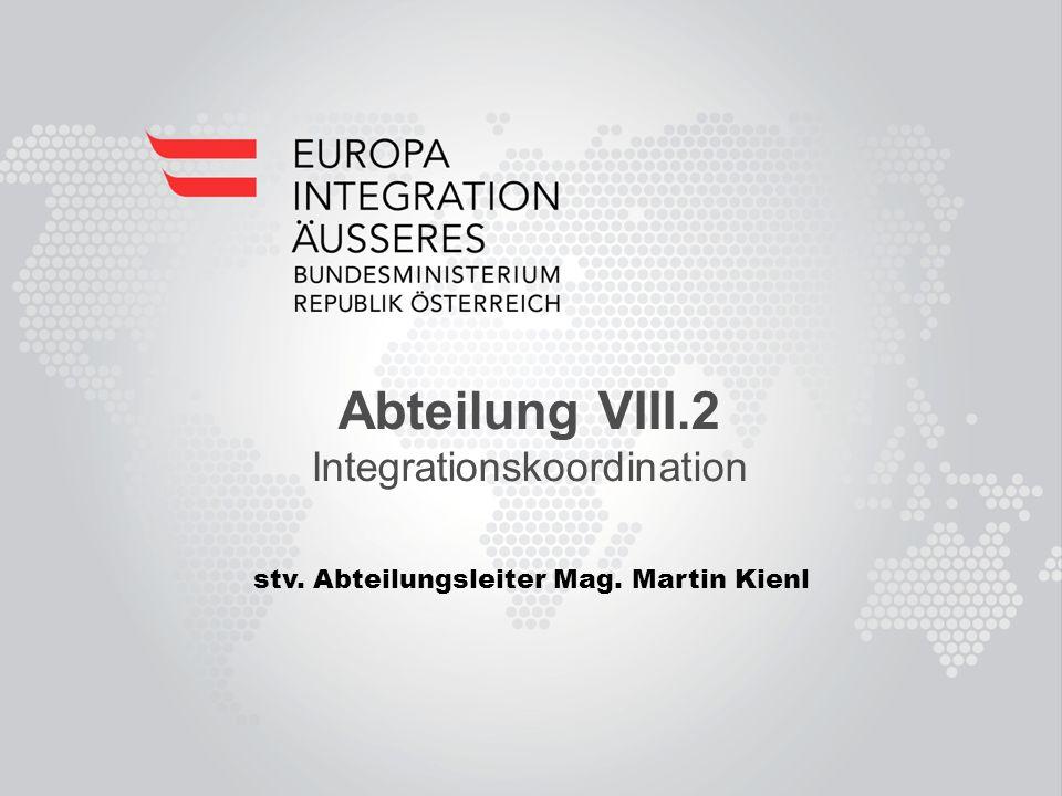 Abteilung VIII.2 Integrationskoordination stv. Abteilungsleiter Mag. Martin Kienl