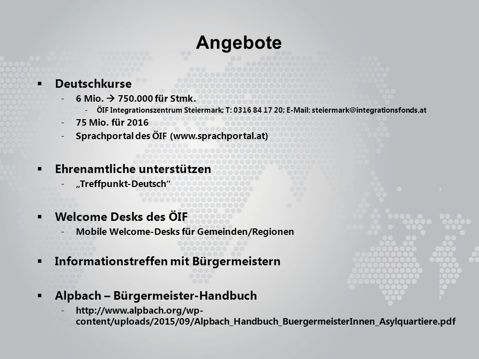 Angebote  Deutschkurse -6 Mio.  750.000 für Stmk.