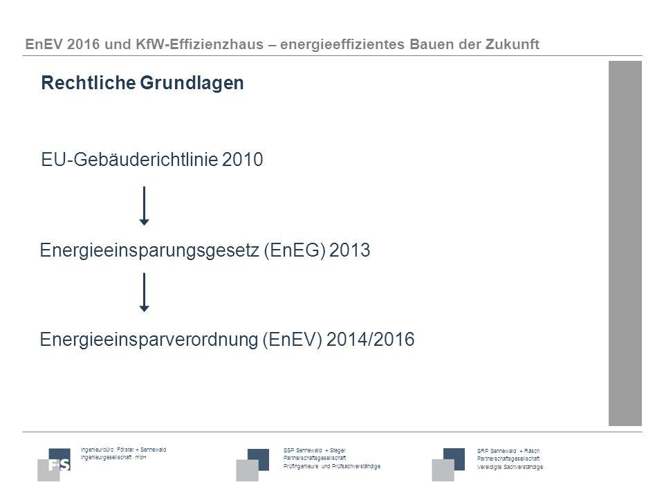 Ingenieurbüro Förster + Sennewald Ingenieurgesellschaft mbH SSP Sennewald + Steger Partnerschaftsgesellschaft Prüfingenieure und Prüfsachverständige SRP Sennewald + Räsch Partnerschaftsgesellschaft Vereidigte Sachverständige EnEV 2016 und KfW-Effizienzhaus – energieeffizientes Bauen der Zukunft EU-Richtlinie fordert, dass Neubauten in Zukunft als Niedrigstenergiegebäude ausgeführt werden sollen.