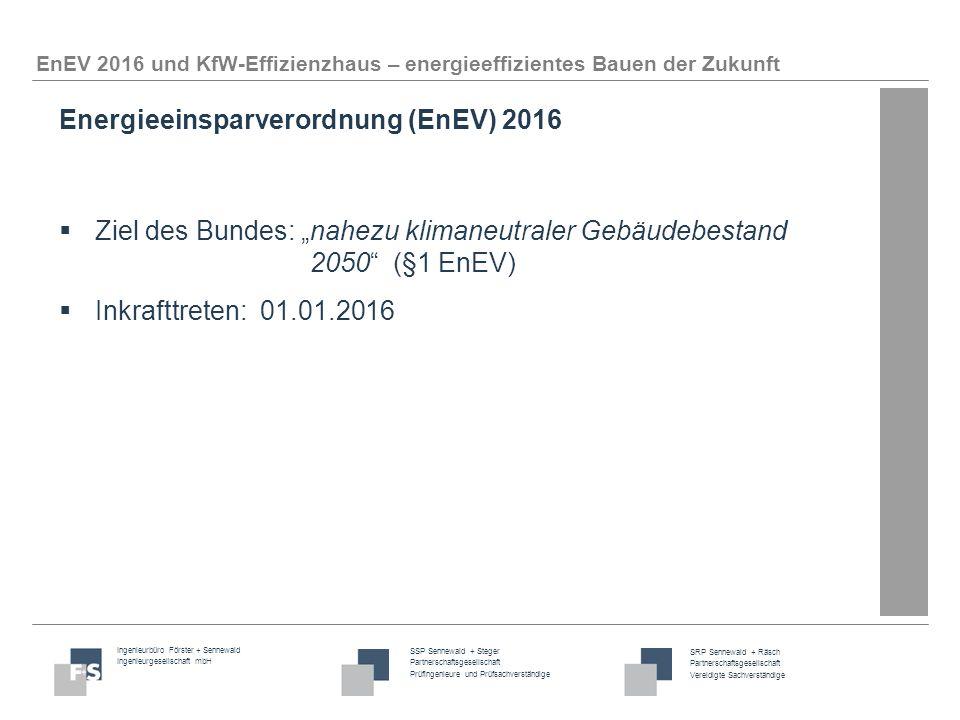 Ingenieurbüro Förster + Sennewald Ingenieurgesellschaft mbH SSP Sennewald + Steger Partnerschaftsgesellschaft Prüfingenieure und Prüfsachverständige SRP Sennewald + Räsch Partnerschaftsgesellschaft Vereidigte Sachverständige EnEV 2016 und KfW-Effizienzhaus – energieeffizientes Bauen der Zukunft Neu ab dem 01.01.2016: 1.Primärenergiebedarf Q P -25%  Berechnung Q P wie bisher  Ergebnis ist mit Faktor 0,75 zu multiplizieren