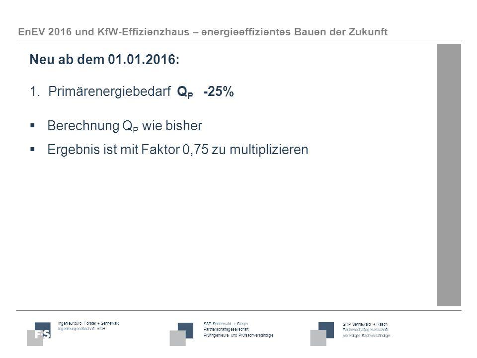 Ingenieurbüro Förster + Sennewald Ingenieurgesellschaft mbH SSP Sennewald + Steger Partnerschaftsgesellschaft Prüfingenieure und Prüfsachverständige SRP Sennewald + Räsch Partnerschaftsgesellschaft Vereidigte Sachverständige EnEV 2016 und KfW-Effizienzhaus – energieeffizientes Bauen der Zukunft Neu ab dem 01.01.2016: 2.Transmissionswärmeverlust H' T nicht größer als bei Referenzgebäude  Was ist ein Referenzgebäude.