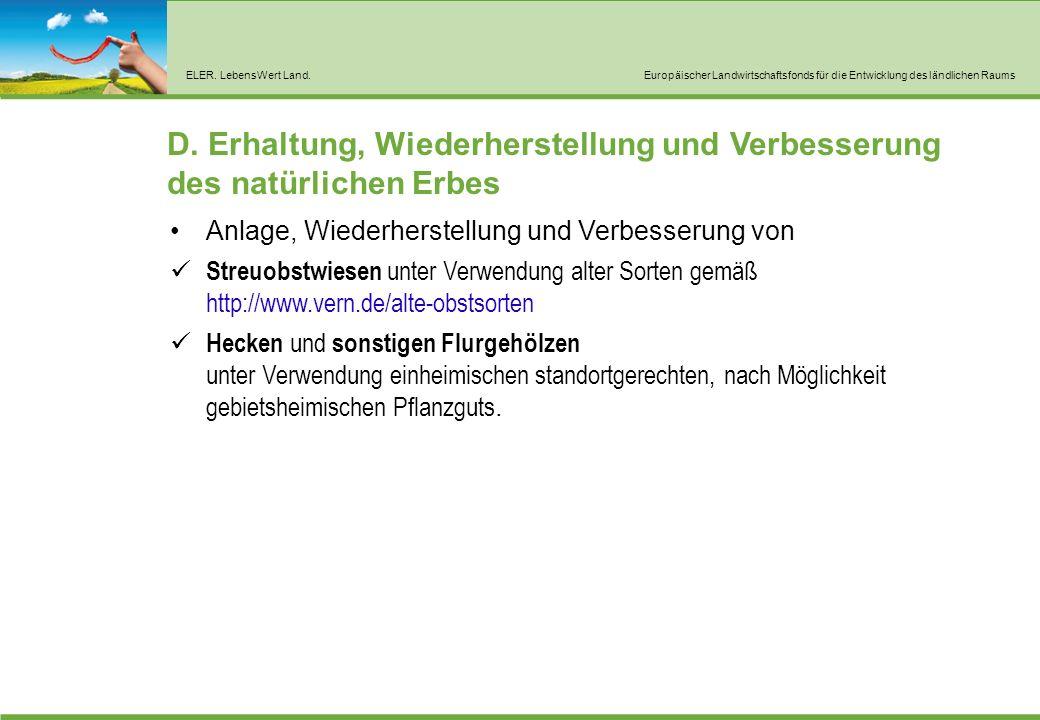 ELER. LebensWert Land.Europäischer Landwirtschaftsfonds für die Entwicklung des ländlichen Raums D.
