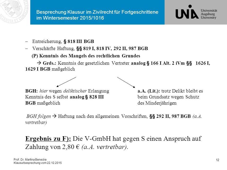 Prof. Dr. Martina Benecke Klausurbesprechung vom 22.12.2015 Besprechung Klausur im Zivilrecht für Fortgeschrittene im Wintersemester 2015/1016 –Entrei