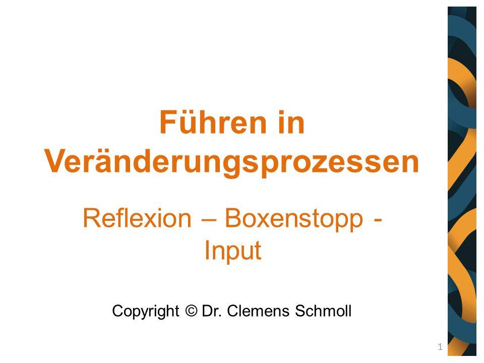 Führen in Veränderungsprozessen Reflexion – Boxenstopp - Input Copyright © Dr. Clemens Schmoll 1