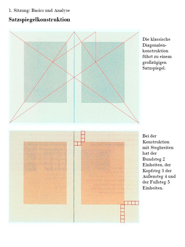 1. Sitzung: Basics und Analyse Satzspiegelkonstruktion Die klassische Diagonalen- konstruktion führt zu einem großzügigen Satzspiegel. Bei der Konstru