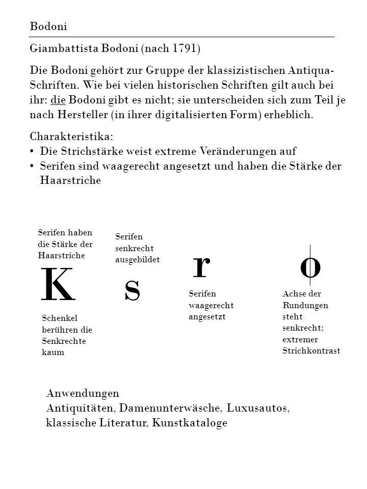 Ks ro Bodoni Giambattista Bodoni (nach 1791) Die Bodoni gehört zur Gruppe der klassizistischen Antiqua- Schriften. Wie bei vielen historischen Schrift