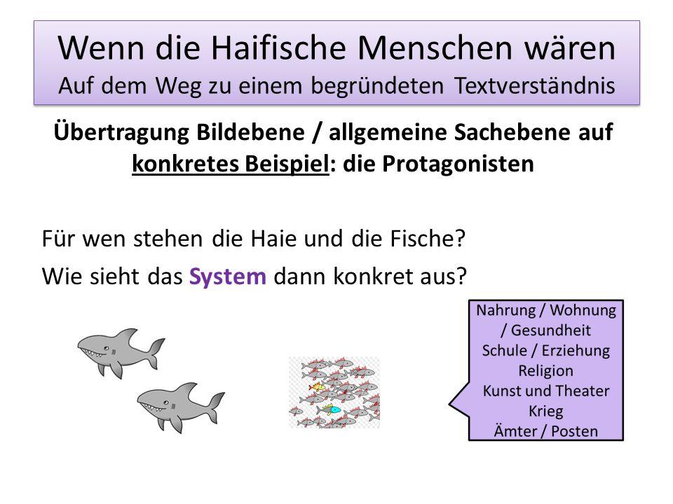 Wenn die Haifische Menschen wären Auf dem Weg zu einem begründeten Textverständnis Übertragung Bildebene / allgemeine Sachebene auf konkretes Beispiel