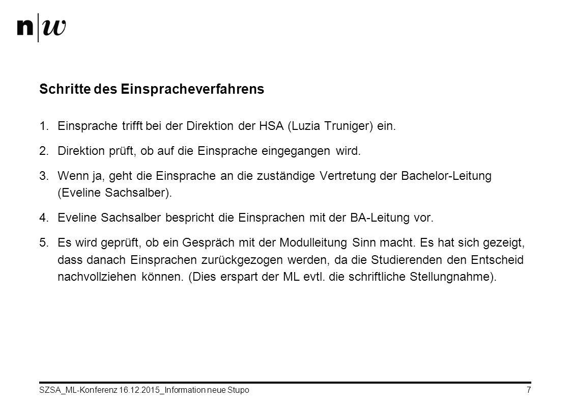 SZSA_ML-Konferenz 16.12.2015_Information neue Stupo7 Schritte des Einspracheverfahrens 1.Einsprache trifft bei der Direktion der HSA (Luzia Truniger) ein.