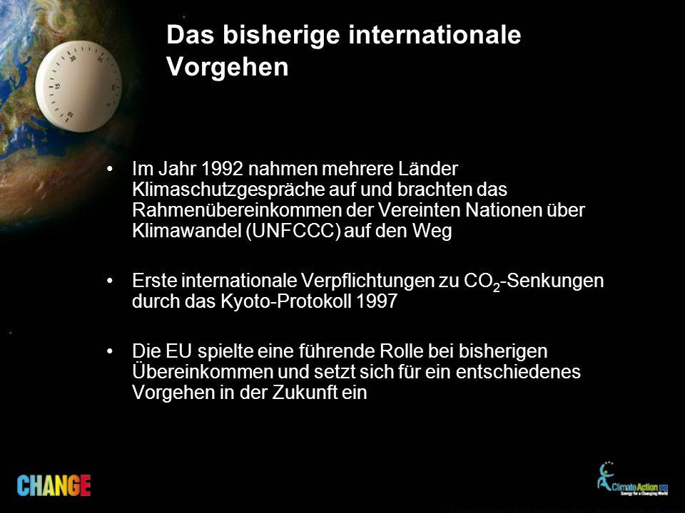 Das bisherige internationale Vorgehen Im Jahr 1992 nahmen mehrere Länder Klimaschutzgespräche auf und brachten das Rahmenübereinkommen der Vereinten Nationen über Klimawandel (UNFCCC) auf den Weg Erste internationale Verpflichtungen zu CO 2 -Senkungen durch das Kyoto-Protokoll 1997 Die EU spielte eine führende Rolle bei bisherigen Übereinkommen und setzt sich für ein entschiedenes Vorgehen in der Zukunft ein