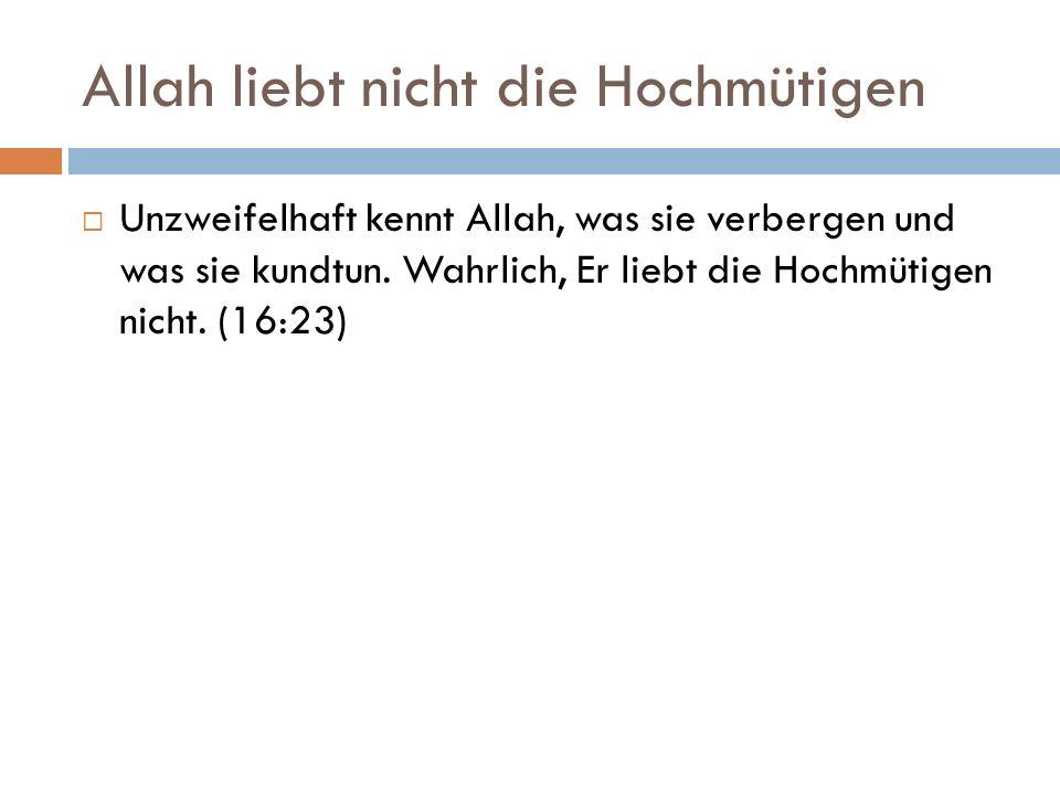 Allah liebt nicht die Hochmütigen  Unzweifelhaft kennt Allah, was sie verbergen und was sie kundtun.