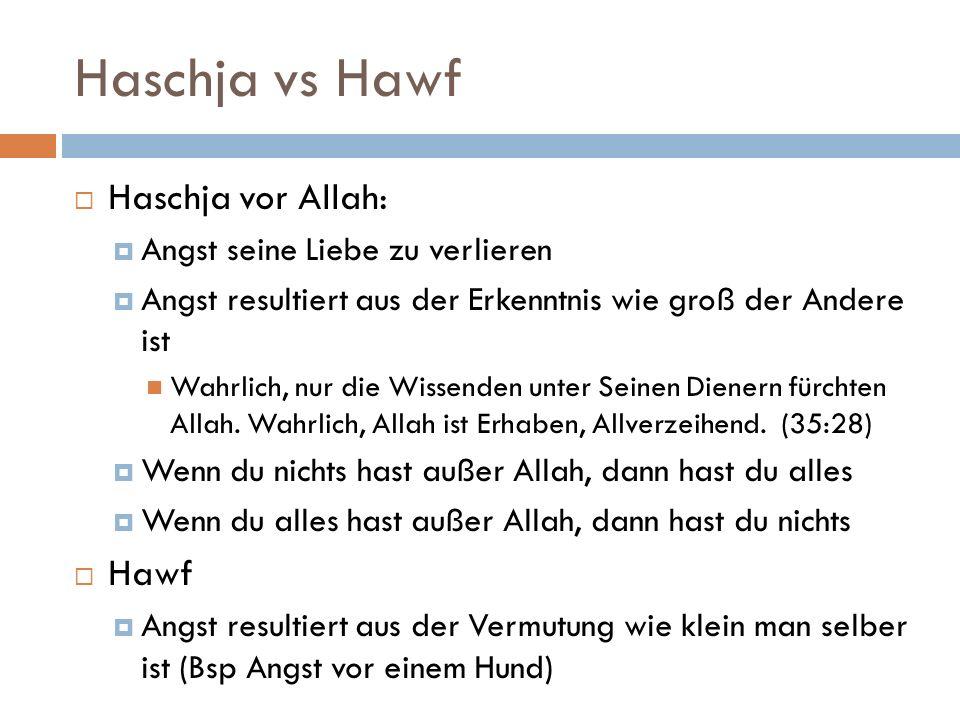 Haschja vs Hawf  Haschja vor Allah:  Angst seine Liebe zu verlieren  Angst resultiert aus der Erkenntnis wie groß der Andere ist Wahrlich, nur die Wissenden unter Seinen Dienern fürchten Allah.