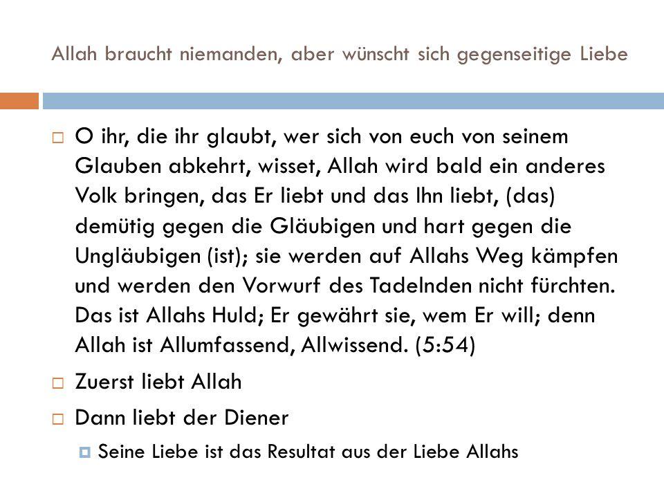 Allah braucht niemanden, aber wünscht sich gegenseitige Liebe  O ihr, die ihr glaubt, wer sich von euch von seinem Glauben abkehrt, wisset, Allah wird bald ein anderes Volk bringen, das Er liebt und das Ihn liebt, (das) demütig gegen die Gläubigen und hart gegen die Ungläubigen (ist); sie werden auf Allahs Weg kämpfen und werden den Vorwurf des Tadelnden nicht fürchten.
