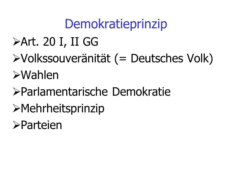 Parlamentarische Demokratie Unmittelbar legitimiert Bundestag Alle übrigen Organe durch den Bundestag Bundestag repräsentiert das Volk Repräsentative oder parlamentarische Demokratie Prinzip des Parlamentsvorbehalts, Eingriffe in Grundrechte und andere grundrechtswesentliche Entscheidungen benötigen eine gesetzliche Legitimation Homogenitätsprinzip Periodizität der Wahlen