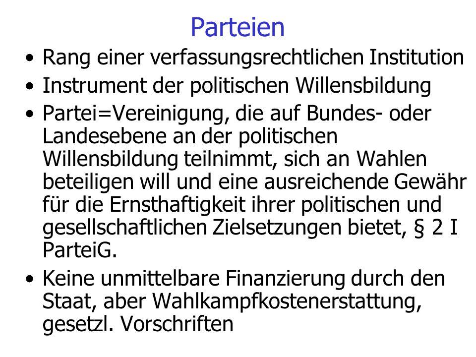 Parteien Rang einer verfassungsrechtlichen Institution Instrument der politischen Willensbildung Partei=Vereinigung, die auf Bundes- oder Landesebene