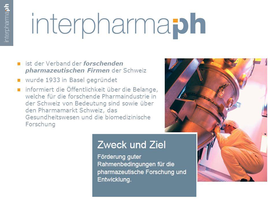 ist der Verband der forschenden pharmazeutischen Firmen der Schweiz wurde 1933 in Basel gegründet informiert die Öffentlichkeit über die Belange, welc