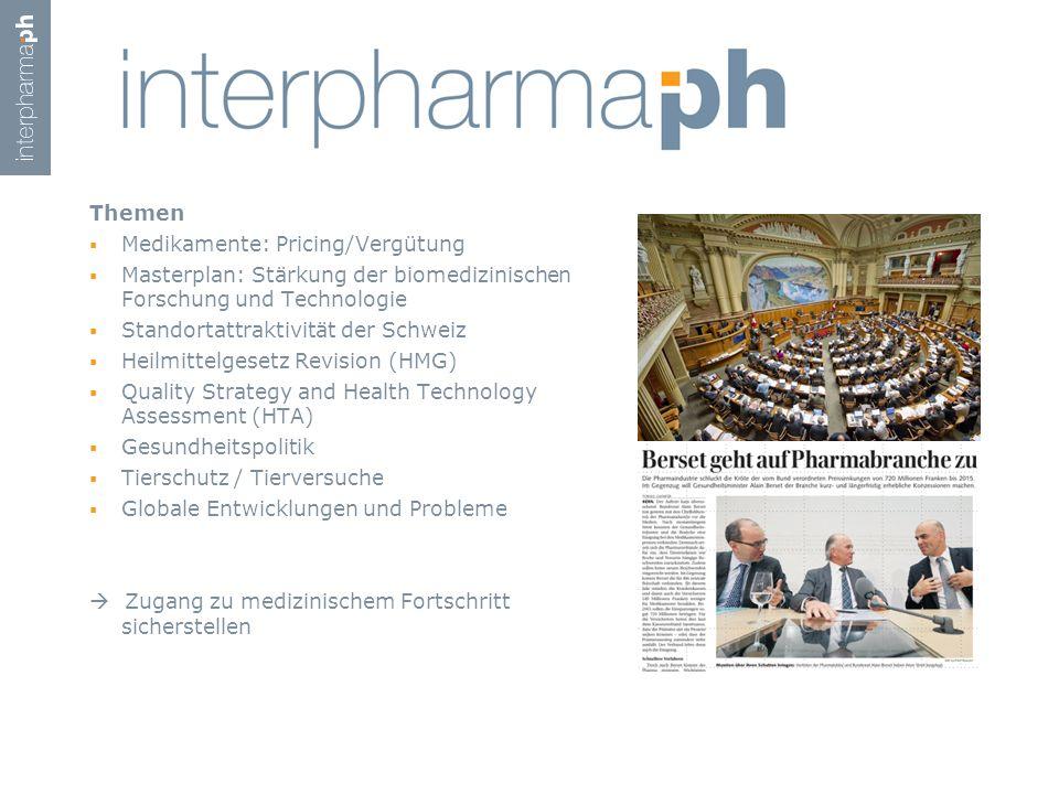 Themen  Medikamente: Pricing/Vergütung  Masterplan: Stärkung der biomedizinischen Forschung und Technologie  Standortattraktivität der Schweiz  He