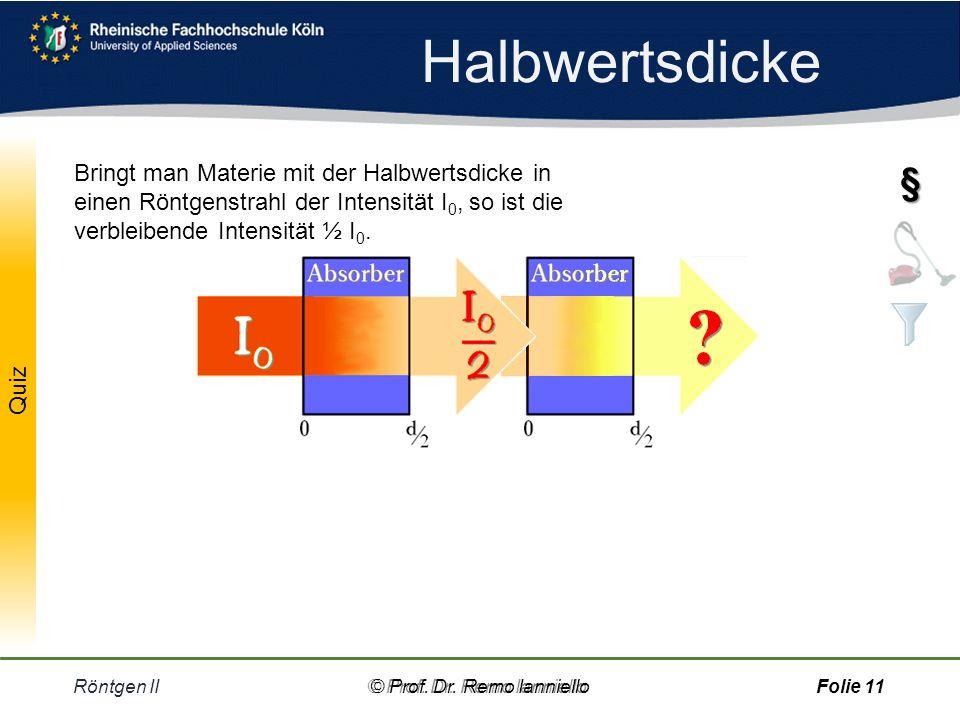 Halbwertsdicke Röntgen II© Prof.Dr. Remo IannielloFolie 10 1.