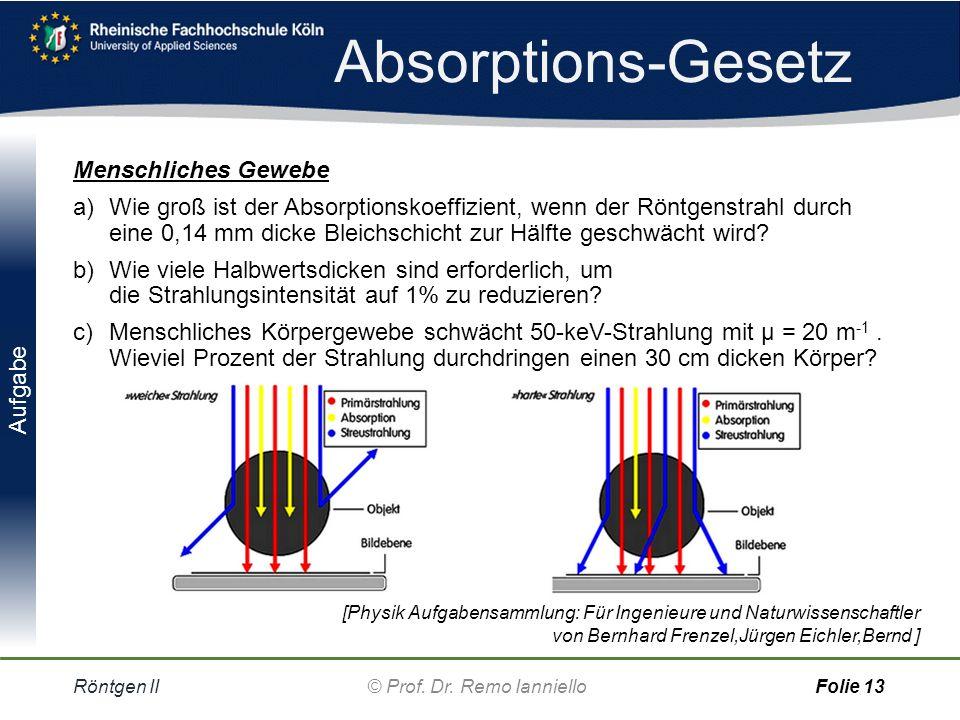 Absorptions-Gesetz Röntgen II© Prof.Dr.