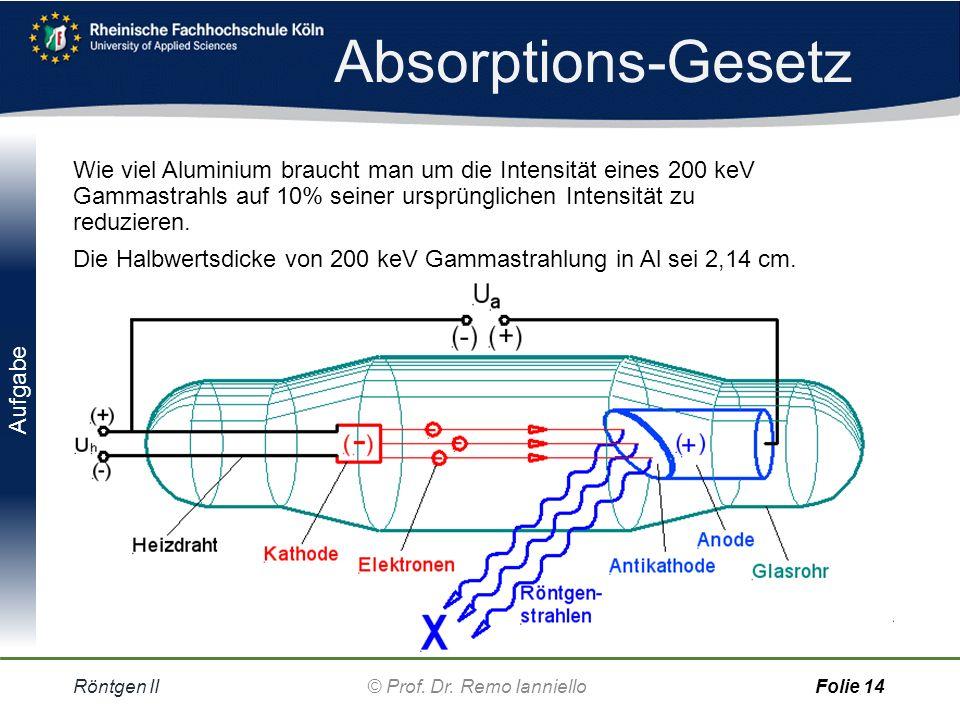 Aufgabe Absorptions-Gesetz Röntgen IIFolie 13 Menschliches Gewebe a)Wie groß ist der Absorptionskoeffizient, wenn der Röntgenstrahl durch eine 0,14 mm dicke Bleichschicht zur Hälfte geschwächt wird.