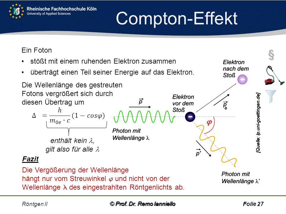Compton-Effekt Röntgen II© Prof.Dr.