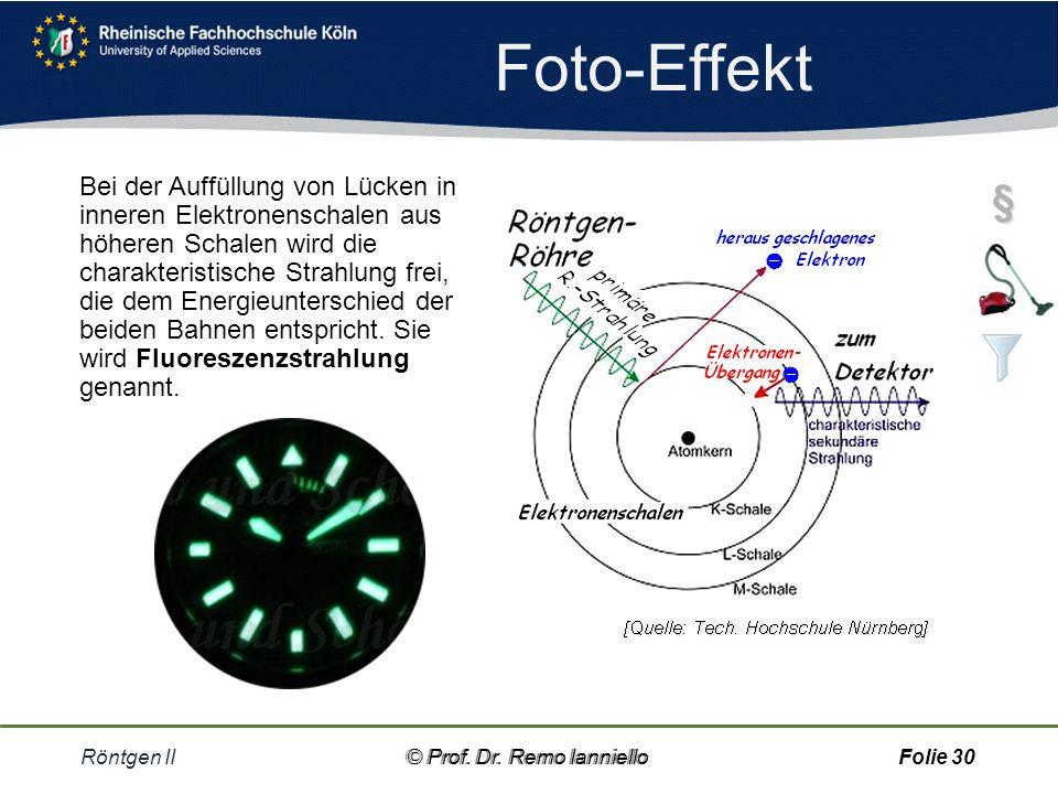Foto-Effekt Röntgen II© Prof.Dr. Remo IannielloFolie 29 Fotonen lösen den Fotoeffekt aus, d.h.