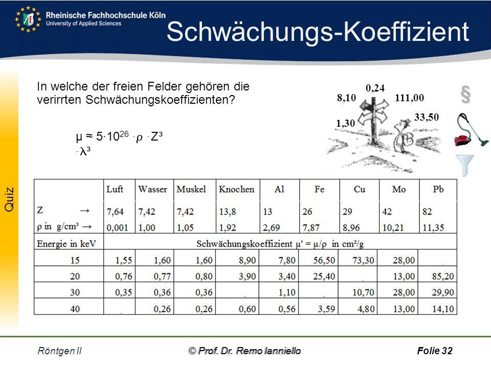Schwächungs-Koeffizient Röntgen II© Prof.Dr.