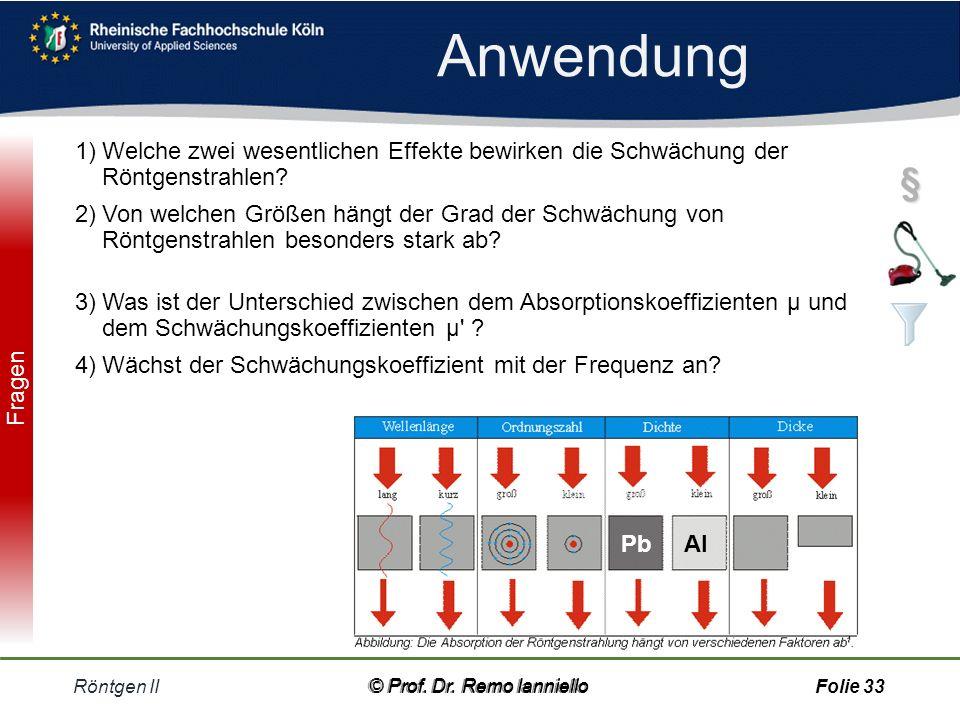 Quiz Schwächungs-Koeffizient Röntgen II© Prof.Dr.