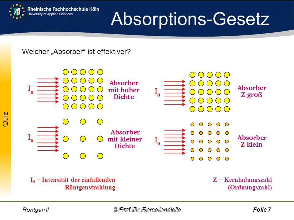 Quiz Absorptions-Gesetz Röntgen II© Prof.Dr.