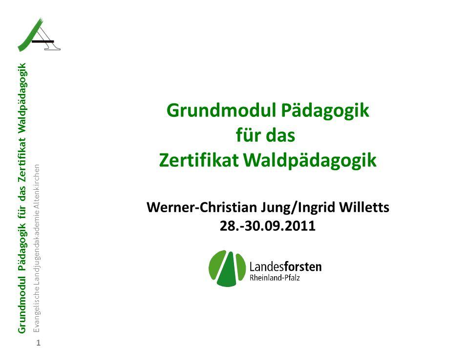 Grundmodul Pädagogik für das Zertifikat Waldpädagogik Evangelische Landjugendakademie Altenkirchen 1 Grundmodul Pädagogik für das Zertifikat Waldpädag