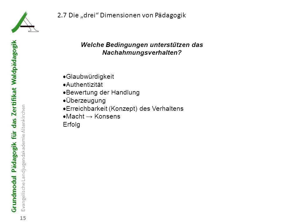 """Grundmodul Pädagogik für das Zertifikat Waldpädagogik Evangelische Landjugendakademie Altenkirchen 15 2.7 Die """"drei"""" Dimensionen von Pädagogik Welche"""