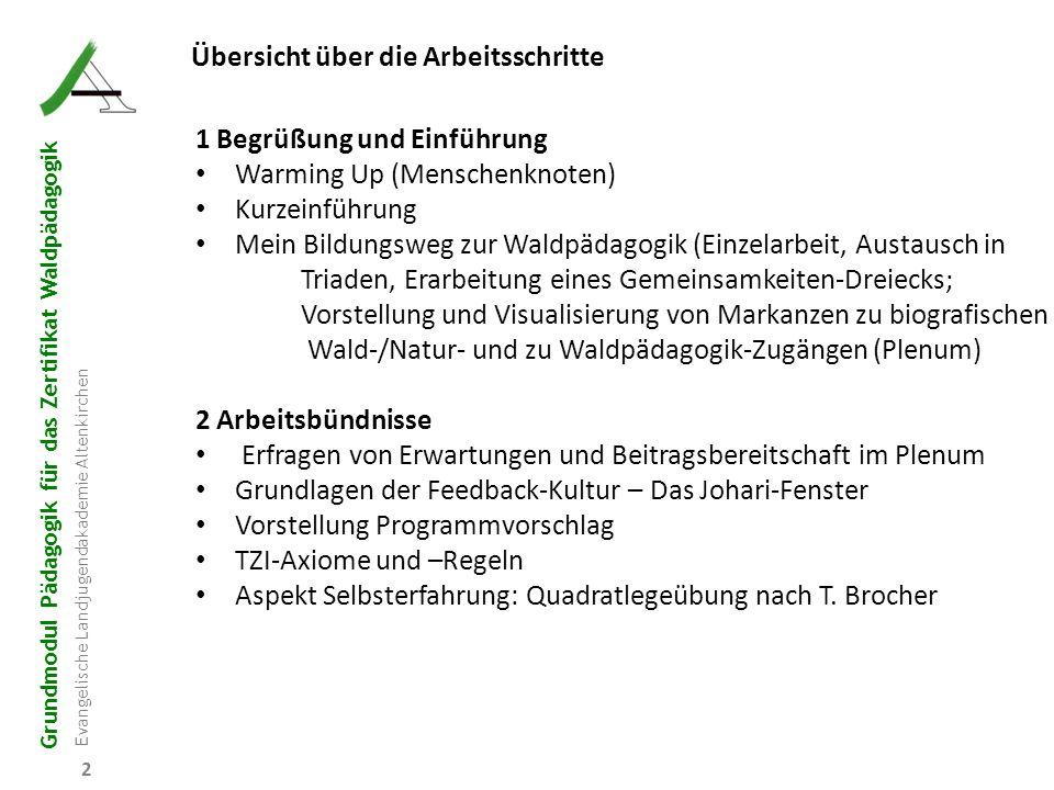 Grundmodul Pädagogik für das Zertifikat Waldpädagogik Evangelische Landjugendakademie Altenkirchen 2 Übersicht über die Arbeitsschritte 1 Begrüßung un