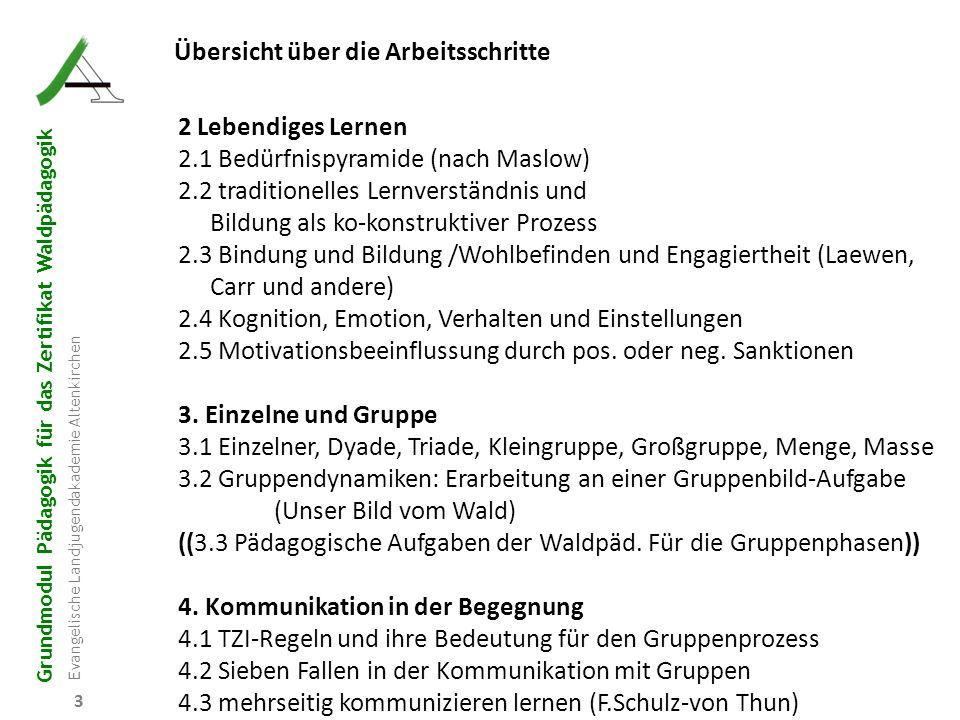 Grundmodul Pädagogik für das Zertifikat Waldpädagogik Evangelische Landjugendakademie Altenkirchen 34 4.6 Auswertung der Gruppenprozesse 4.6.1 Ablesen und Interpretieren der Arbeit durch die Nicht-Produzenten 4.6.2 Ergänzung/Korrektur durch die AG 4.6.3 Feedback der AG-Prozess-Beobachter/innen 4.6.4 Austausch über die Beobachtungen