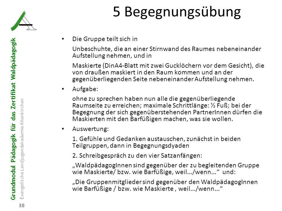 Grundmodul Pädagogik für das Zertifikat Waldpädagogik Evangelische Landjugendakademie Altenkirchen 38 5 Begegnungsübung Die Gruppe teilt sich in Unbes