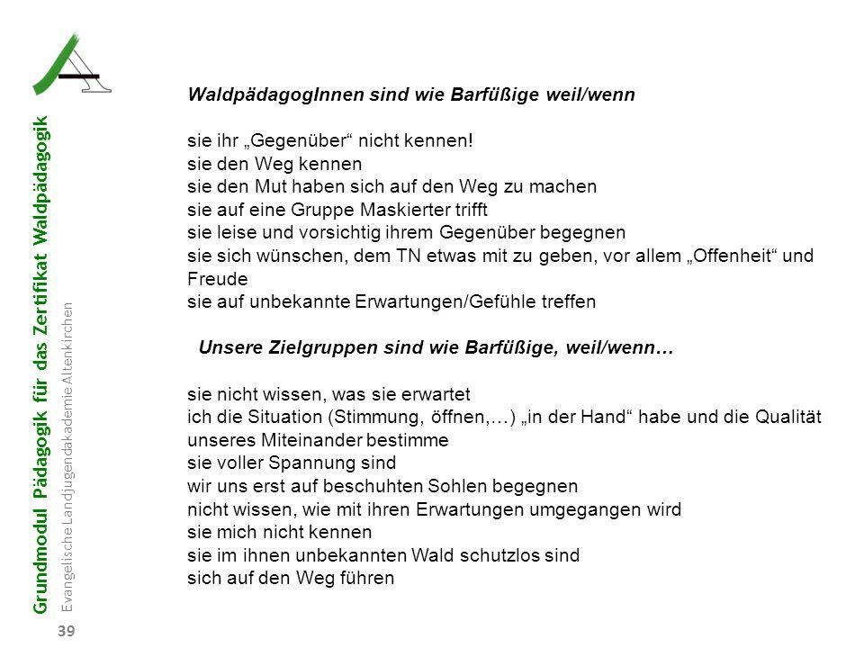Grundmodul Pädagogik für das Zertifikat Waldpädagogik Evangelische Landjugendakademie Altenkirchen 39 WaldpädagogInnen sind wie Barfüßige weil/wenn si